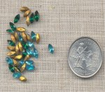 50 VINTAGE AQUA EMERALD 6X3mm GLASS NAVETTE JEWELS