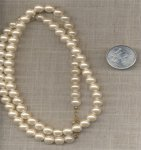 "1 VINTAGE WHITE LUSTRE PEARL ROUND BEAD 24"" NECKLACE"
