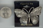 1 VINTAGE PEWTER BUTTERFLY FASHION 56mm BAR PIN