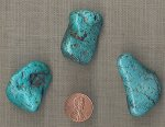 3 VINTAGE GENUINE AFRICAN TURQUOISE 34-40mm NUGGET BEADS