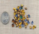 50 VINTAGE ASST COLOR 9X5mm. GLASS DIAMOND JEWELS
