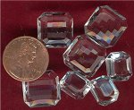 12 VINTAGE CRYSTAL ASSORTED OCTAGON GLASS BACK GEMS