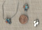11 VINTAGE SILVER BEAD ENAMELED LATIN CROSS CHARMS