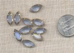 6 VINTAGE LIGHT SAPPHIRE GLASS 16X8mm NAVETTE IN BRASS SETTING