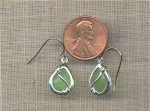 PAIR GLASS MATTE PERIDOT DROP HOOK SILVER EARRINGS
