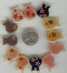 12 VINTAGE ASST FLOWER VASE 124mm 2 HOLE PENDANTS