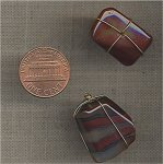 3 VINTAGE GENUINE RAINBOW JASPER TRIANGLE WIRED 25mm BEADS