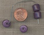 50 VINTAGE GLASS 10mm. PURPLE BARELL BEADS