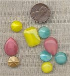 24 VINTAGE GLASS ASST PASTEL OPAL GEM JEWELS