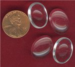 6 VINTAGE CRYSTAL 18X13mm OVAL GLASS CABOCHONS