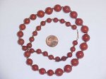 "20"" VINTAGE GENUINE RED JASPER 14KT GOLD CLASP NECKLACE"