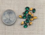 24 VINTAGE AUSTRIAN EMERALD 7X5mm OVAL GEMS