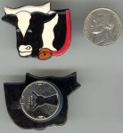 6 VINTAGE COW FACE BUTTON COVERS