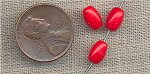100 VINTAGE GLASS 8x5mm CHERRY REDS OVAL BEADS