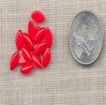 100 VINTAGE RED 10X5mm. GLASS NAVETTE CABOCHONS