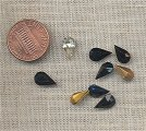 50 VINTAGE GLASS ASST.CRYSTAL & JET 10x6mm TEAR GEMS