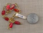 "1 VINTAGE GOLD RED MILLIFIORE CHAIN 16"" NECKLACE"