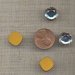 6 VINTAGE AUSTRIAN CRYSTAL SQUARE 12mm CABOCHONS