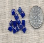 50 VINTAGE LAPIS 6mm SQUARE GLASS BACK GEM JEWELS
