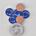 12 VINTAGE FACETED SAPPHIRE GLASS 13mm. CABOCHONS
