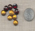 12 VINTAGE GARNET 48ss GLASS PILLOW BACK RHINESTONES