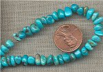24 VINTAGE GENUINE TURQUOISE CHIP 7x3mm BEADS