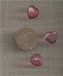 8 VINTAGE GLASS ROSE 11mm HEART FACETED GEMS