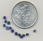 6 VINTAGE SYNTHETIC SAPPHIRE 9ss RHINESTONES GEMS