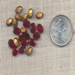 50 VINTAGE RUBY 8X6mm OVAL GLASS JEWELS
