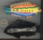 "1 VINTAGE HANDPAINTED COLORFUL FISH 3.5"" BARRETTE"