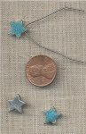 12 VINTAGE SILVER TEAL PURPLE GLITTER 12mm STAR BEADS
