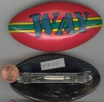 "1 HANDPAINTED ""WAY"" 80'S STYLE SURF BOARD 4"" BARRETTE"