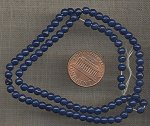 200 VINTAGE GLASS 4mm. NAVY BLUE ROUND BEADS