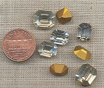 24 GLASS ASSORTED CRYSTAL 9-12mm OCTAGON GEM JEWELS