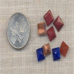24 VINTAGE ASST 8mm SQUARE GLASS GEMS
