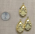 6 VINTAGE GOLD TEAR 15X11mm OVAL PENDANT SETTINGS