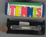 "1 HANDPAINTED COLORFUL RETRO RECTANGLE ""TENNIS"" BARRETTE"