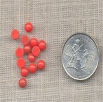100 VINTAGE CORAL 5mm ROUND GLASS CABOCHONS