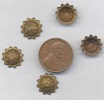 12 VINTAGE ANTIQUE BRASS 12mm. SUNFLOWER FINDINGS