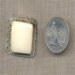 1 VINTAGE GENUINE BONE RECTANGLE BRAIDED SILVER BORDER FINDING