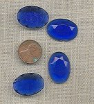 6 VINTAGE GLASS SAPPHIRE 25x18mm OVAL CABOCHONS