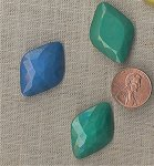 6 VINTAGE GLASS BLUE, GREEN & GREY NAVETTE 30X21mm GEMS