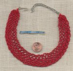 1 VINTAGE ITALY RED BEADED HAND MADE WEAVE CHOKER