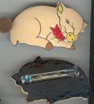 "1 HANDPAINTED PIG WITH BOW TIE 3.5"" BARRETTE"