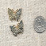 1 VINTAGE BRASS RAISED BUTTERFLY 26X18mm FINDINGS