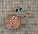 100 VINTAGE GLASS BLUE ZIRCON 3mm SQUARE GEMS