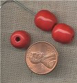 50 VINTAGE GLASS CHERRY RED 12mm OVAL BEADS