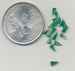 12 VINTAGE SYNTHETIC EMERALD 4.5x2.5mm TRIANGLE JEWEL GEMS
