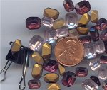 24 VINTAGE GLASS AMETHYSTS ASST OCTAGON GEM JEWELS
