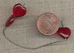 22 VINTAGE GLASS 11mm SIAM RUBY HEART SMOOTH BEADS